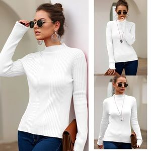 Tops - 🍁 Mila Ribbed Mock Neck White Blouse